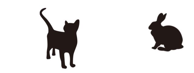 ネコとウサギのシルエット