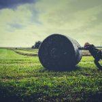 牧草ロールを押す人