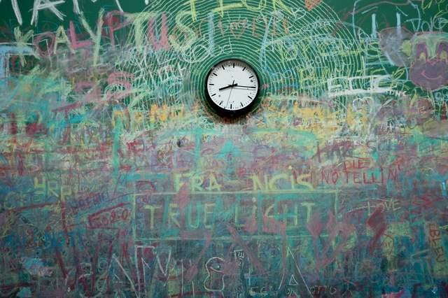 落書きされた黒板と時計