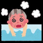 お風呂でのぼせている男性のイラスト