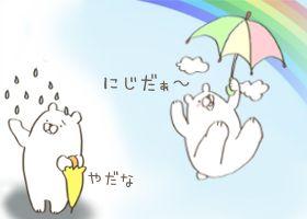 雨に悲しむ白くま、虹に浮かれる白くま